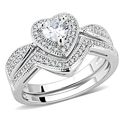 Amazon homeday women halo heart shaped wedding ring set cubic homeday women halo heart shaped wedding ring set cubic zirconia engagement ring 5 junglespirit Gallery