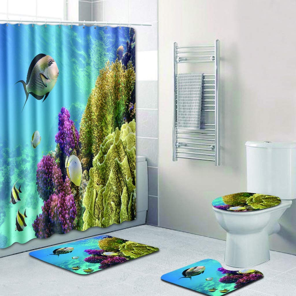 CYHY Unterwasserlandschaft 4-teiliges Badezimmer-Set, WC-Deckel Abdeckung Sockel WC-Bad Rutschfeste Teppich Teppich und Wasserdichte Duschvorhang mit 12 Haken (Farbe   5, Größe   17.7 x 29.5 ) B07QCCL6KT Duschmatten