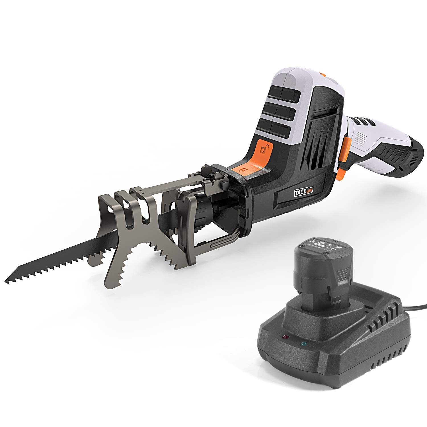 TACKLIFE Advanced 12-Volt Max Reciprocating Saw with 1500mAh Lithium-Ion Battery, Cordless Reciprocating Saw Includes Clamping Jaw, Variable Speed, Battery Indicator, 1 Hour Fast Charger - RES001 by TACKLIFE