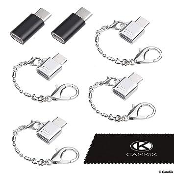 Adaptador Micro USB a USB C (4X Compactos con Llavero + 2X Normales) - Permite Cargado y Transferencia de Datos - Simplemente Conecta tu Cable Micro ...
