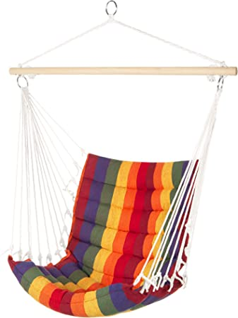 Amazon Com Best Choice Products Indoor Outdoor Padded Hanging Cotton Hammock Chair W 40in Wooden Spreader Bar Multicolor Garden Outdoor