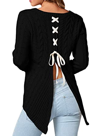 498ddb52b8 Image Unavailable. Image not available for. Color  Meilidress Womens Pullover  Knitted Sweaters Back Slit Lace Up ...