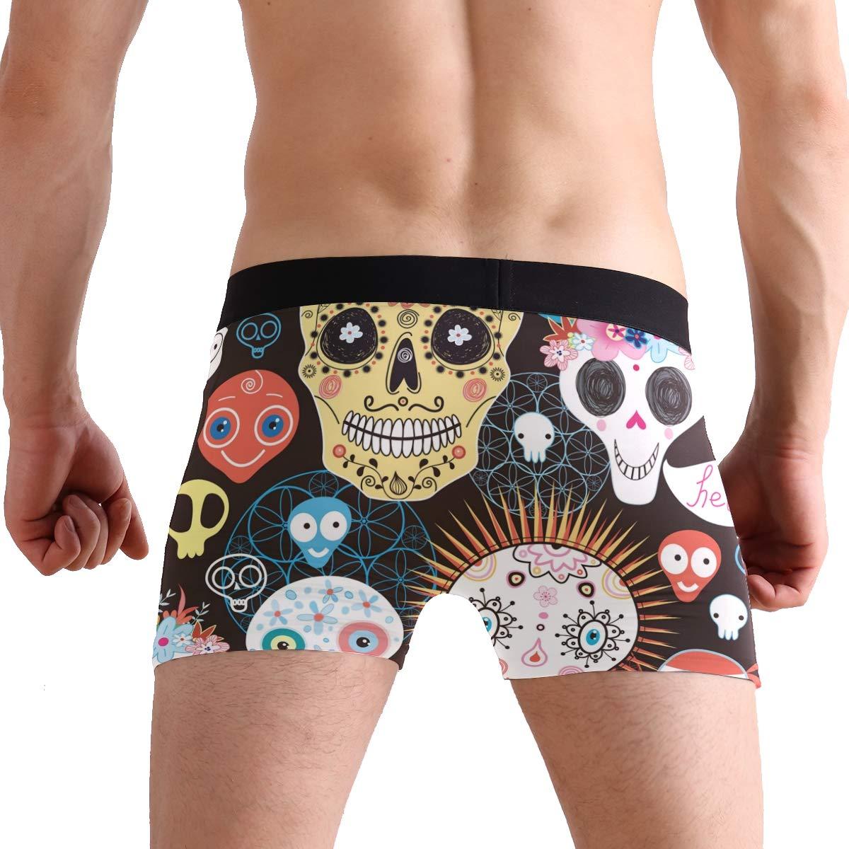 Mkuell Skull Comfortable Mens Boxer Briefs Multi-Size Soft Underwear S
