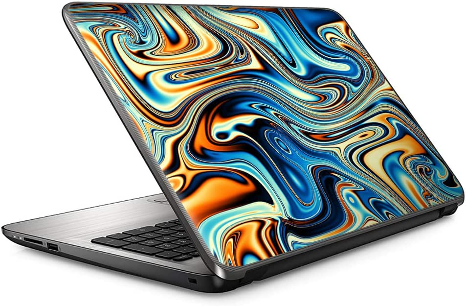"15 15.6 inch Laptop Notebook Skin, Vinyl Sticker Cover Decal Fits 15, 15.6"" 16"" HP Lenovo Apple Mac Dell Compaq Asus Acer- Blue Orange Psychedelic Oil Slick"