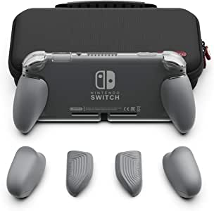 Skull & Co. GripCase Lite Bundle: A Comfortable Protective Case with Replaceable Grips [to fit All Hands Sizes] for Nintendo Switch Lite- Gray