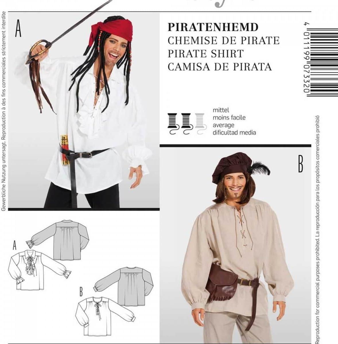 Patrón disfraz hombre camisa de pirata, Burda 7332: Amazon.es: Hogar