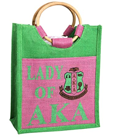 342b441071 Amazon.com: Alpha Kappa Alpha Sorority Large Lady of AKA Jute Bag-Tote:  Greek & More