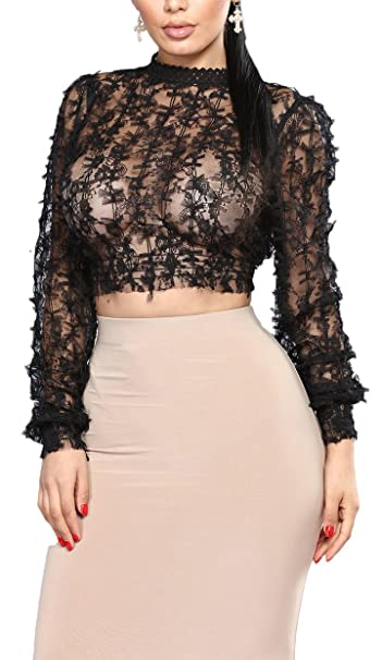 db7df53e lovecarnation Women's Sexy Crew Neck Long Sleeves Sheer Bowknot Lace Short Tops  Blouse Black S