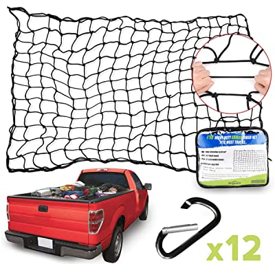 """Angooni 4' x 6' Heavy Duty Truck Bed Cargo Nets - Stretches to 8'x12', 4""""x4"""" Mesh Holes Bungee Pickup Truck Net with Premium Carabiners Clips: Automotive"""