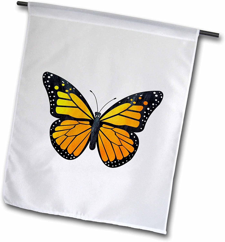 3dRose Janna Salak Designs Butterflies - Orange Monarch Butterfly - 18 x 27 inch Garden Flag (fl_217266_2)