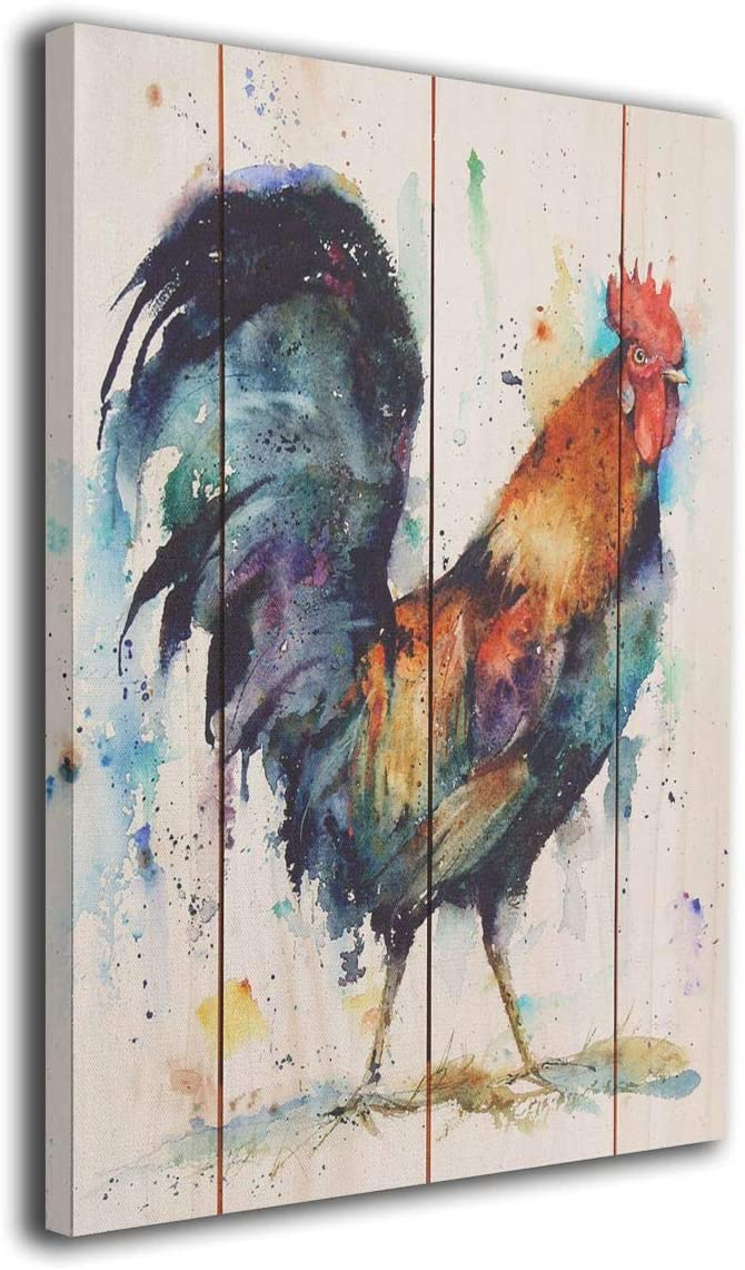 Lib Rooster Kitchen Decor, A Colorful Rooster Decor for Home, HD Print of Farmhouse Paintings Wall Art Decor 16'' x 20''