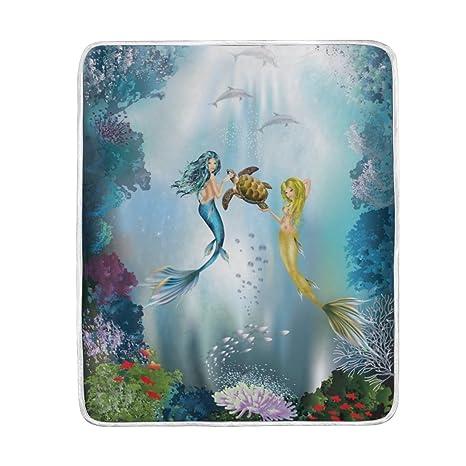 Amazon.com: U LIFE azul océano mar sirena manta suave de ...
