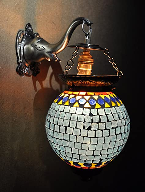 Home Decorative Mosaic Glass Indian Lamps Electric 13 X 9 Inches
