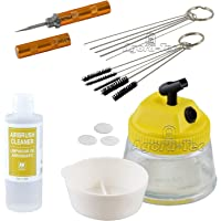 AT - Kit de nettoyage aérographie - Pot nettoyage, 5 brosses de nettoyage, nettoyage des aiguilles 5, Reamer & Vallejo Airbrush Cleaner 200ml