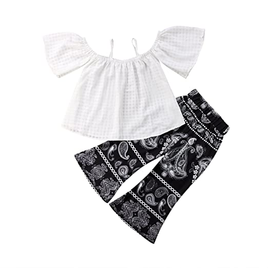 8bdd50f691d7d Toddler Kids Baby Girl White Off Shoulder Tops Black Flare Pants Bell  Bottom Outfit Clothes Set