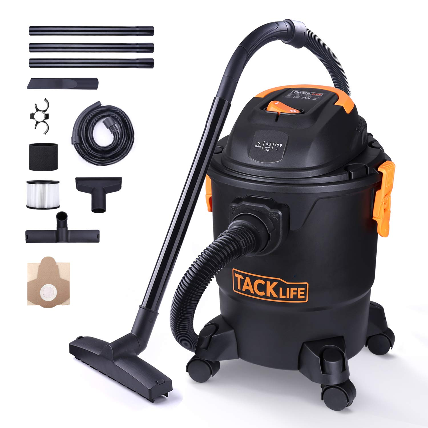 TACKLIFE Wet Dry Vacuum, 5 Gallon, 5.5 Peak HP with 20 FT Clean Range, 4-Layer Filtration System and Safety Buoy Technology for Dry/Wet/Blowing, Multipurpose Accessories Included - PVC01A