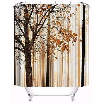 FuXing Cortina De Ducha Tela De Poliéster Impermeable Cortina De Baño De Impresión Digital 180 x 180cm (Bosque de arce): Amazon.es: Hogar