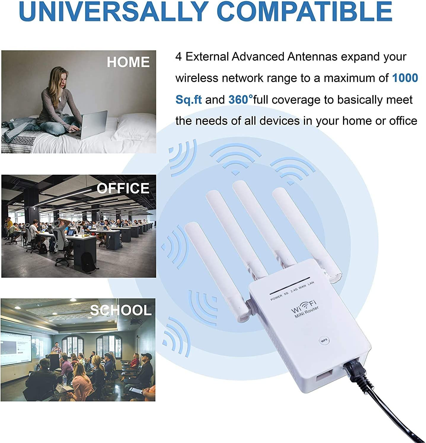 5G /& 2.4G Wireless WiFi Repeater with High-Speed /& Wide Range Signals 1200Mbps WiFi Signal Booster 1200mbps WiFi Range Extender