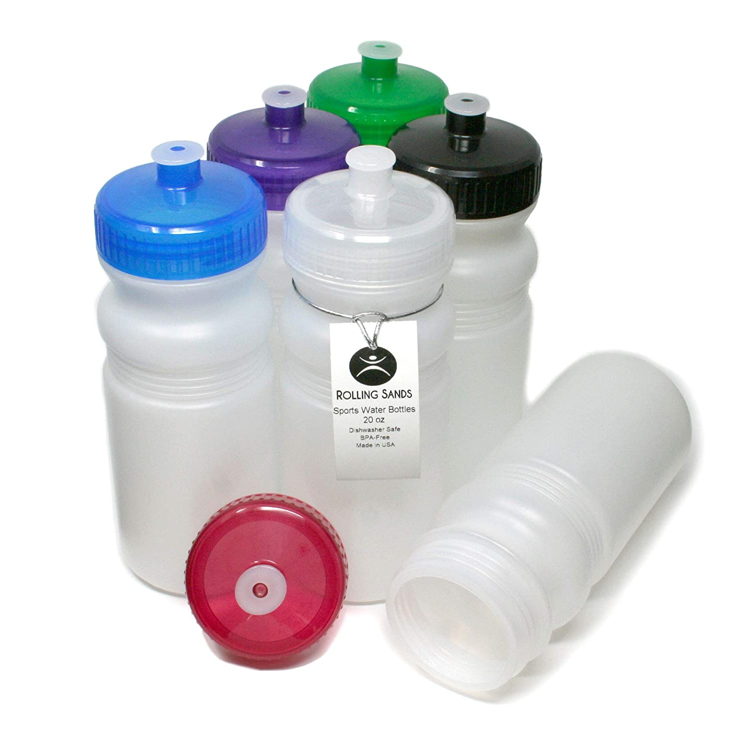 Rolling Sands 20oz Sports Water Bottles 6 Pack (BPA-Free, Made in USA) Dishwasher Safe