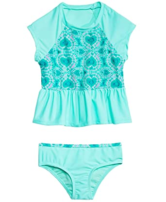 dc2e58e986 Summer Crush Little Girls 2-Pc. Tie-Dyed Hearts Rash Guard Tankini Swimsuit