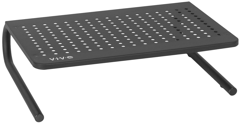 VIVO Black Vented Metal Desktop Stand Ergonomic Monitor and Laptop Riser 14.5 Sleek Platform (STAND-V000E)