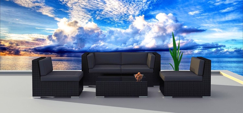 Urban Furnishing.net - Black Series 5a Modern Outdoor Backyard Wicker Rattan Patio Furniture Sofa Sectional Couch Set