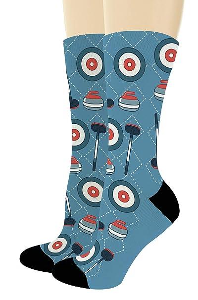 b516d62432 Curling Accessories Winter Olympic Socks Curling Crew Socks Sports Theme 1-Pair  Novelty Crew Socks