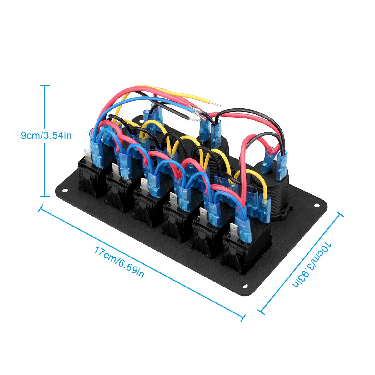 Excelvan Digital 12v 24v Switch Panel Waterproof Dual Usb Port Wiring Diagram Charger Cigarette Lighter Socket Voltmeter Boat Car Marine Rocker 6 Gang Automotive