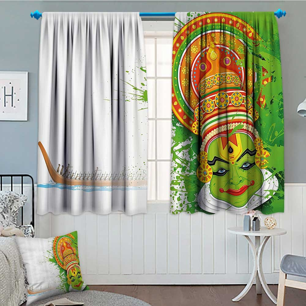 Asian Thermal Insulating Blackout Curtain Ritualistic Ethnic Asian Ceremonial Dance Figure and Boat on River Illustration Patterned Drape For Glass Door 72''x84'' Green and White
