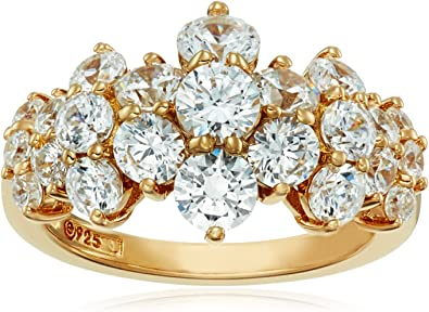 14K Yellow Gold Over 925 Sterling Silver Round Diamond Cluster Flower Shape Ring
