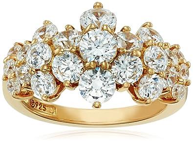 5e1f78908 Amazon.com: Yellow-Gold-Plated Sterling Silver Swarovski Zirconia Cluster  Ring: Jewelry