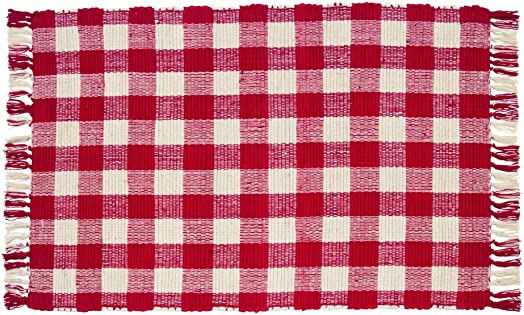 IHF Home Decor Woven Rug Picnic Red Design 100 Cotton Fabric Kitchen Woven Throw Rugs 24 Inches x 42 Inches