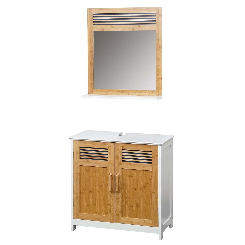 Arredo bagno serie HWC-A85 legno bambu e MDF set sottolavabo e specchio 2 pezzi Mendler