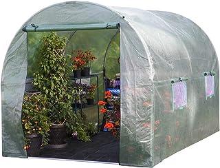 Garden Grow Polytunnel 3M x2M Powder Coated Steel Frame, Walk In Greenhouse, Double Zipped Door & Windows (3 x 2 Polytunnel)
