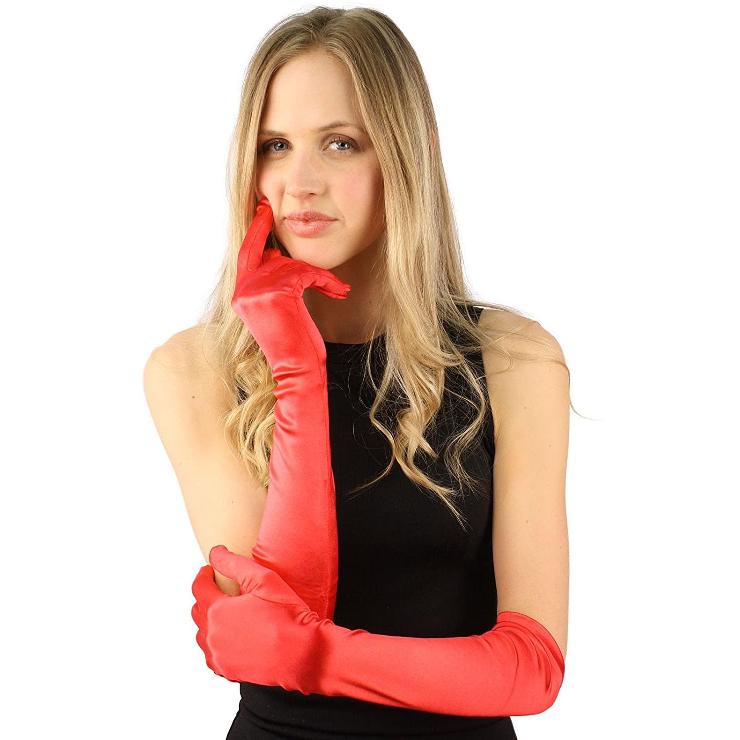 Shiny Satin Finish Stretch 18-Inch Long Length Costume Gloves (Available in 20 Colors) - DeluxeAdultCostumes.com