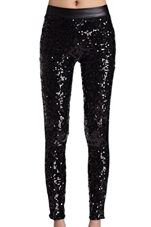 08b1217d Women Casual High Waist Patchwork Paillettes Sequins Skinny Full Length  Legging Pants Performance Trousers Black One Size: Amazon.co.uk: Clothing