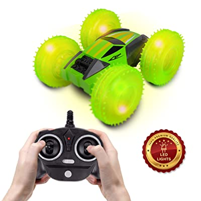 Kidstech Remote Control Race Car for Boys and Girls, 360 Degree Flips Double Sided Rotating Stunt Car with Air Tires and Pump, 2.4 GHZ High Speed R/C Car for Kids Ages 6+ (Green): Toys & Games