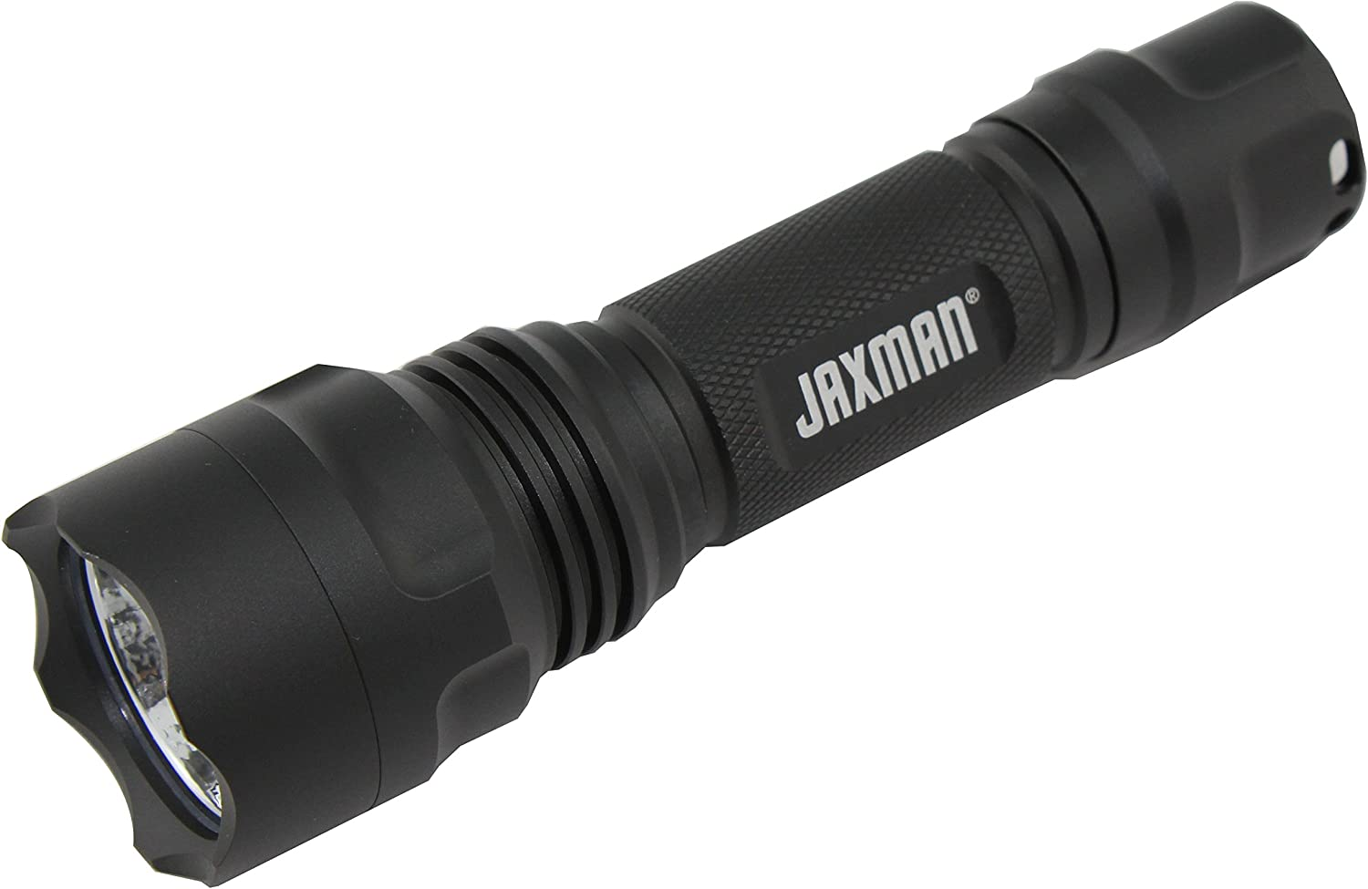 Image of the Jaxman flashlight in matte black color, with JAXMAN print on it.