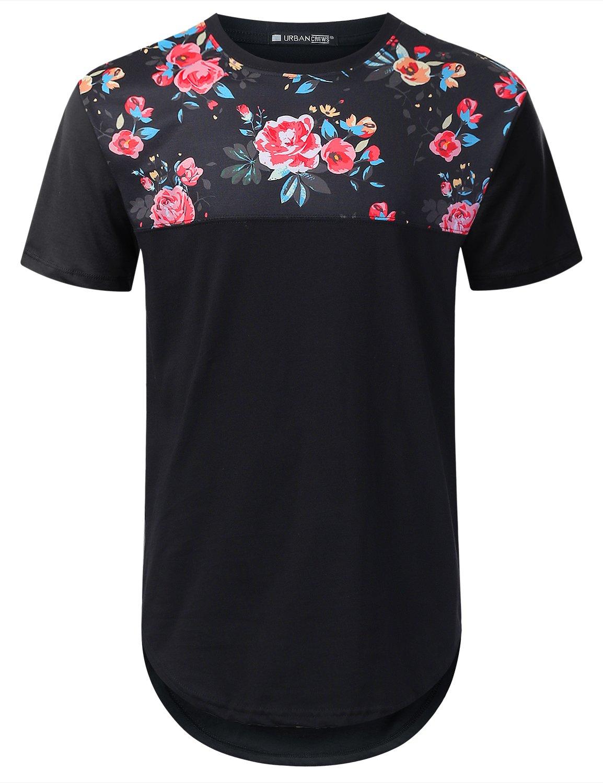 URBANTOPS Mens Hipster Hip Hop Pink Floral Panel Longline T-shirt BLACK, L