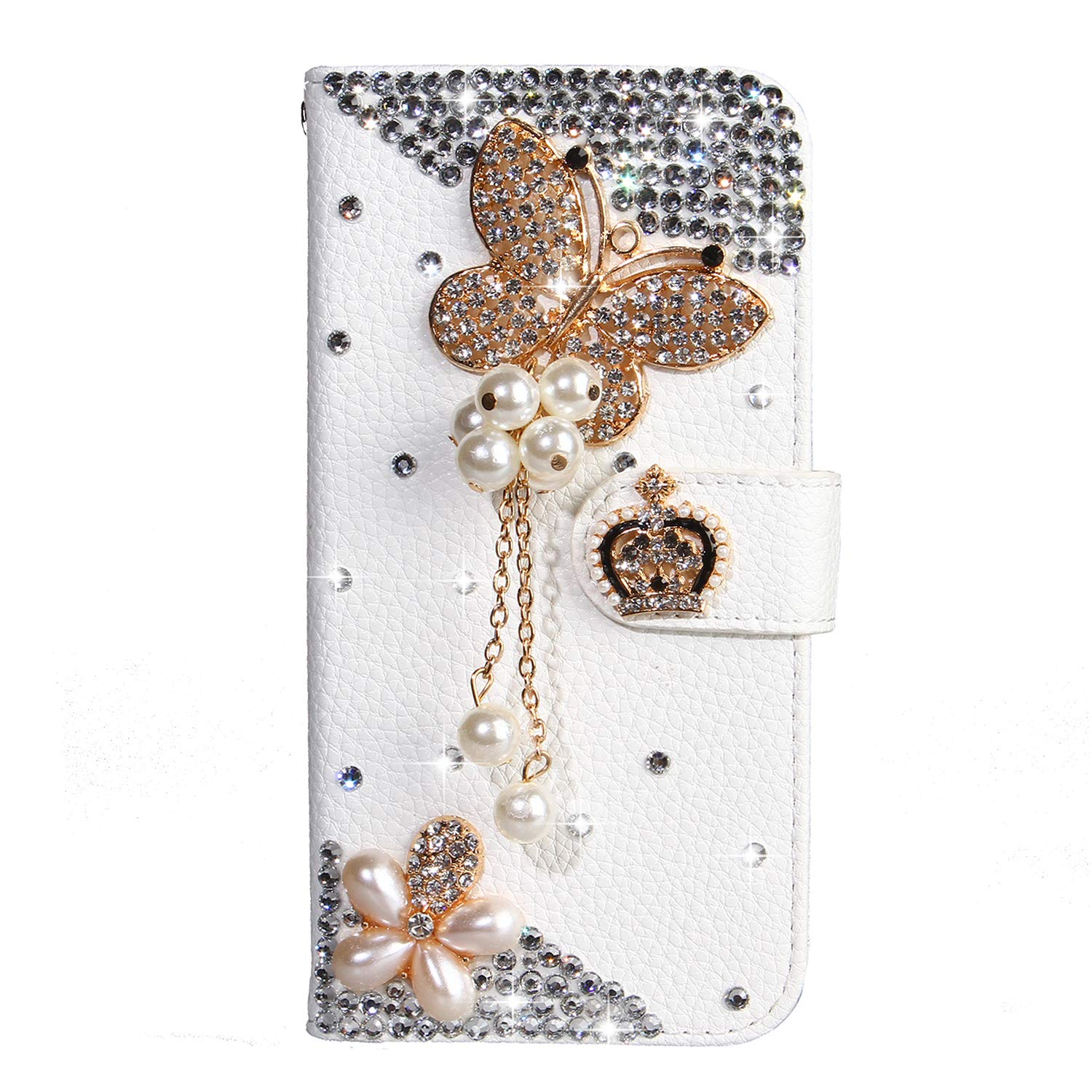 Crystal Wallet Case for Huawei P20,Aoucase Stylish Luxury 3D Handmade Pearl Pendant Butterfly Design Bling Pocket Purse Soft Rubber Stand White Leather Case with Black Dual-use Stylus by Aoucase