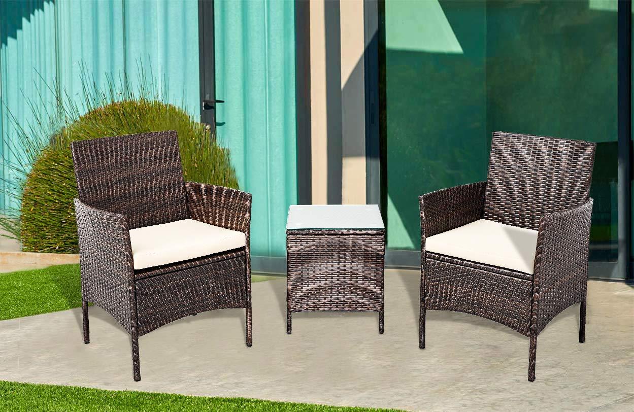 Amazon.com: SUNCROWN - Juego de sillas de mimbre con mesa ...