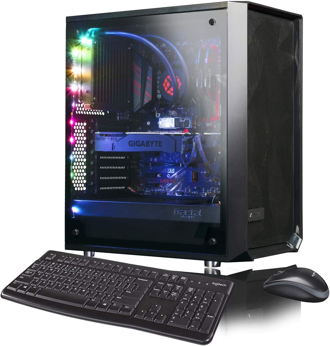 XOTIC Meshify C Extreme (Intel 9th Gen i9-9900K 8-core 5.0GHz Turbo, 16GB DDR4 RAM, 500GB NVMe SSD + 2TB HDD, RTX 2070 Super 8GB, Windows 10) Liquid Cooled VR Ready Gaming Desktop PC