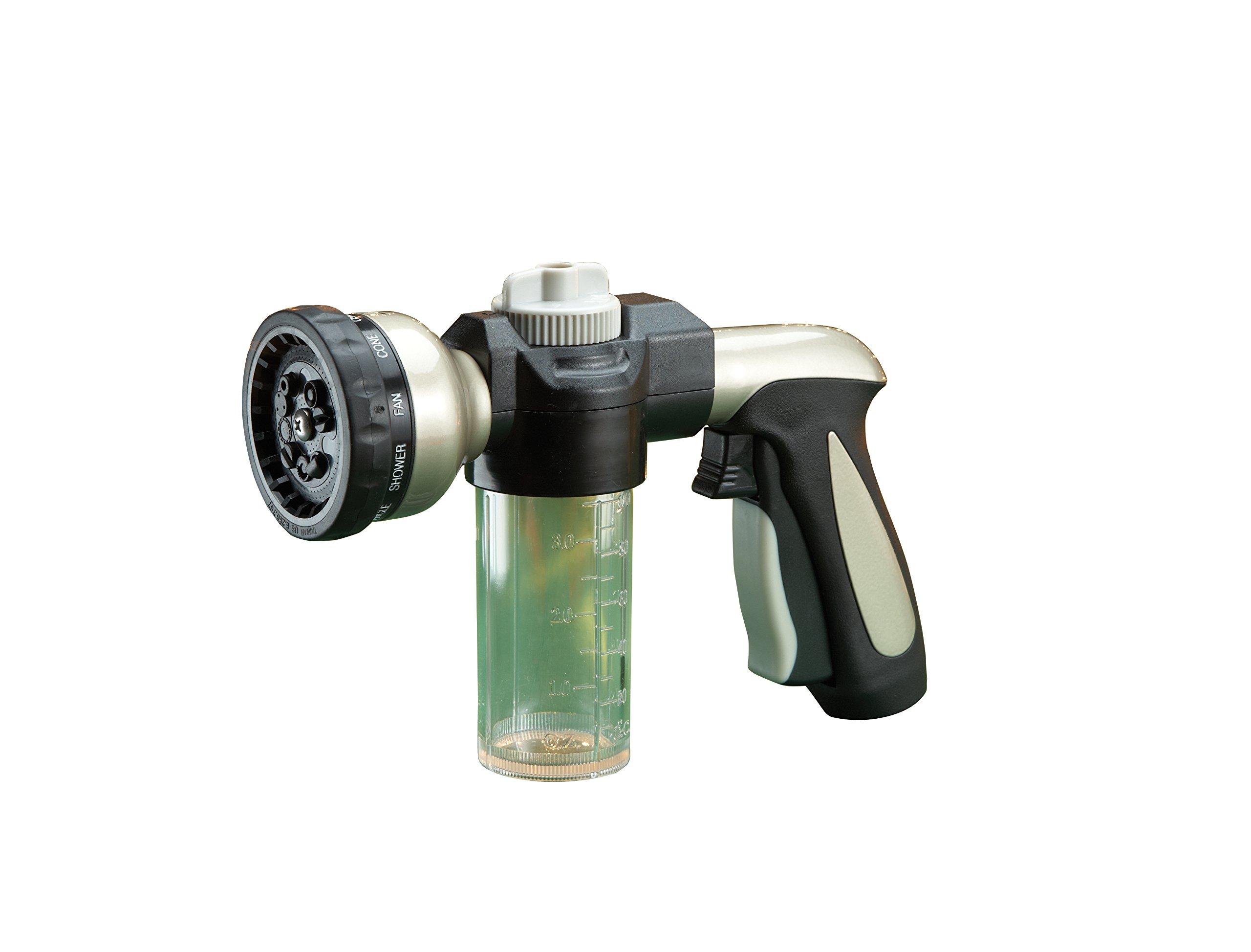 Multi-Pattern Hose Nozzle With Soap Dispenser