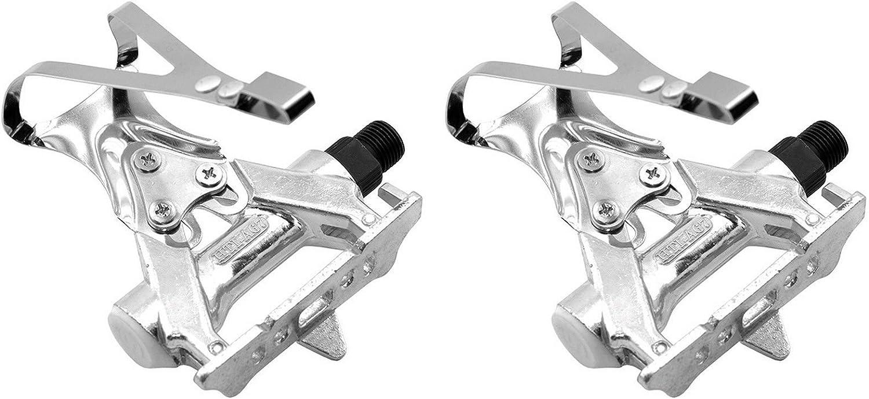 Pedales de Acero Retro Cromado en Plata + Calapies Rosca 9/16