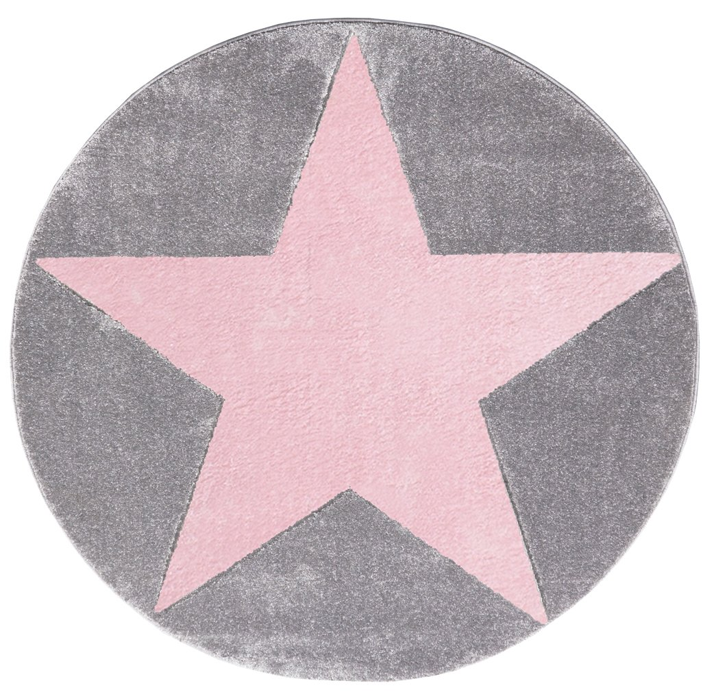Livone Kinderteppich Happy Rugs Star Silbergrau rosa 160cm rund