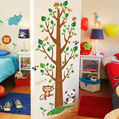 Wallpark Cartoon Cute Animals Monkey Lion Giraffe Big Tree Height Sticker, Growth Height Chart Measuring Removable Wall Decal, Children Kids Baby Home Room Nursery DIY Decorative Art Wall Mural: Baby