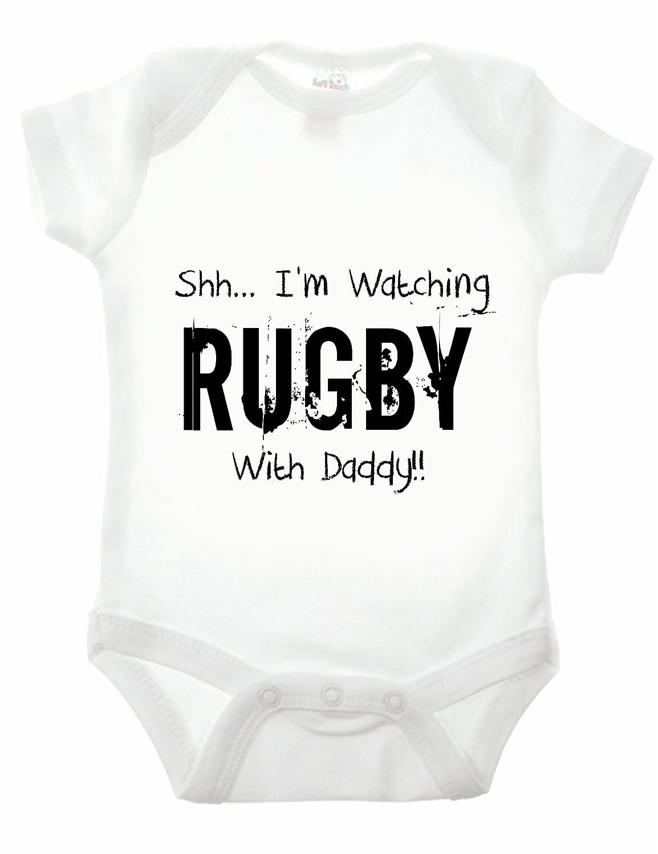 Bullshirt Bullshirt's Shh.I'm Watching Rugby With Daddy Babygrow
