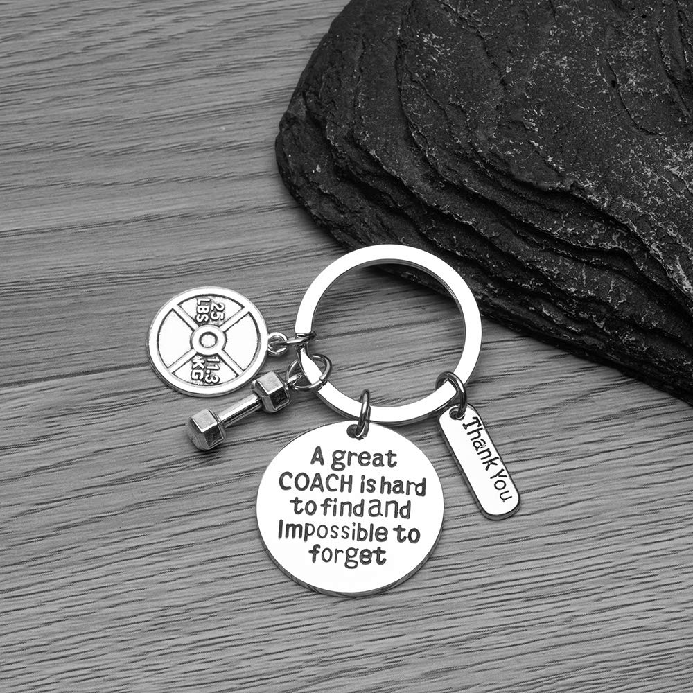 Sportybella Trainer, Fitness Great Coach is Hard to Find But Impossible to Forget Keychain, No Excuse Exercise Keychain, Weighted Barbell Dumbbell ...