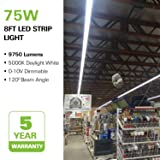 Hykolity 8FT LED Shop Light, 75W 9750LM Linkable