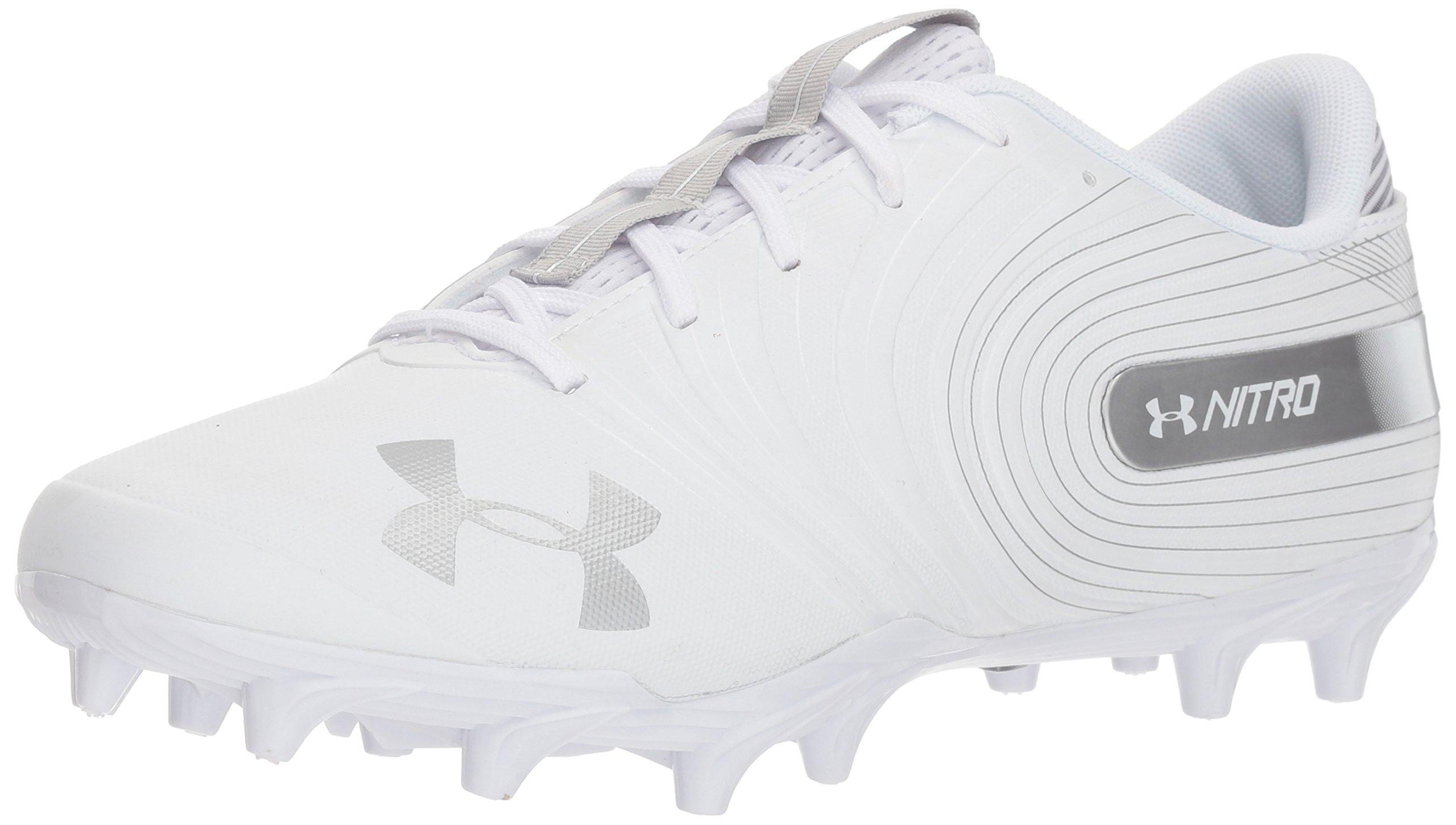 Under Armour Men's Nitro Low MC Football Shoe, White (100)/Metallic Silver, 10.5